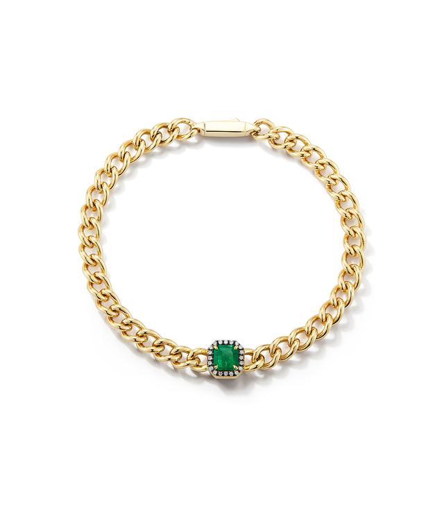 Jemma Wynne Toujours Emerald and Diamond Solitaire Bracelet
