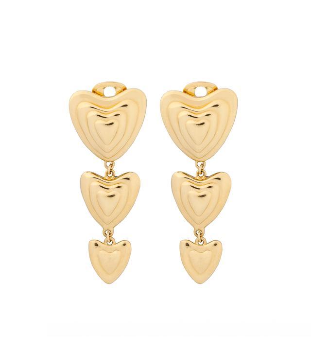 Escada Gold-Tone Heart Drop Earrings