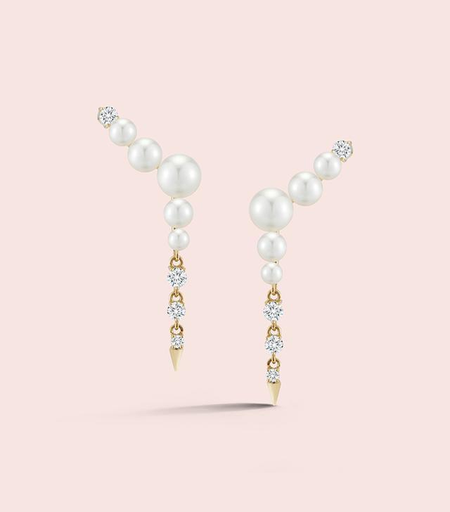 Jemma Wynne Prive Pearl Ear Climbers with Diamond Drops