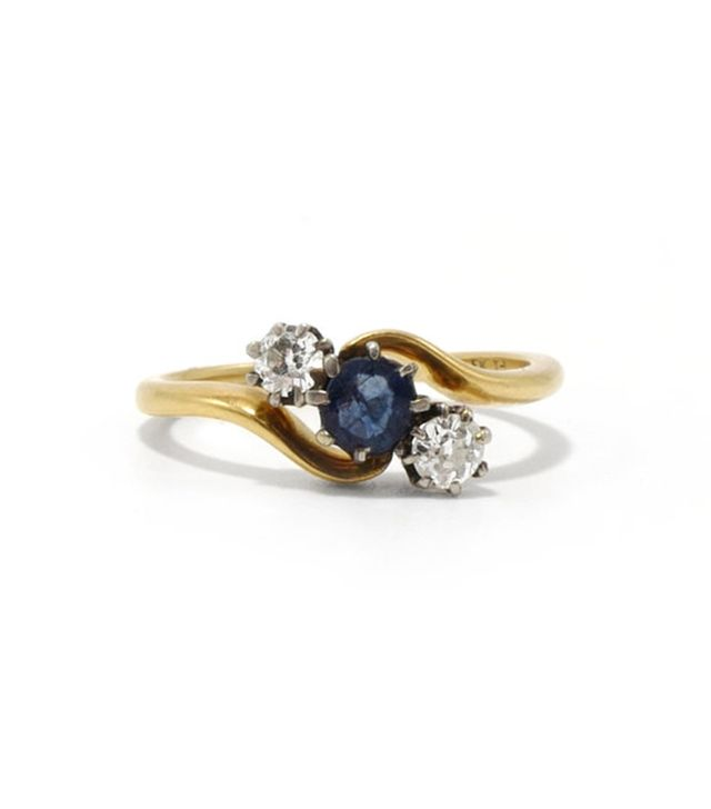 Ashley Zhang Vintage Etienne Sapphire and Diamond Ring