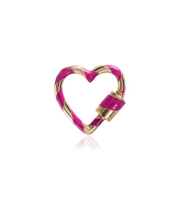 Marlo Aaron Pink Heart Lock 14K Gold Charm