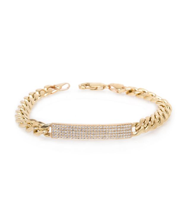 Zoe Chicco 14k Pave Large Curb Chain ID Bracelet