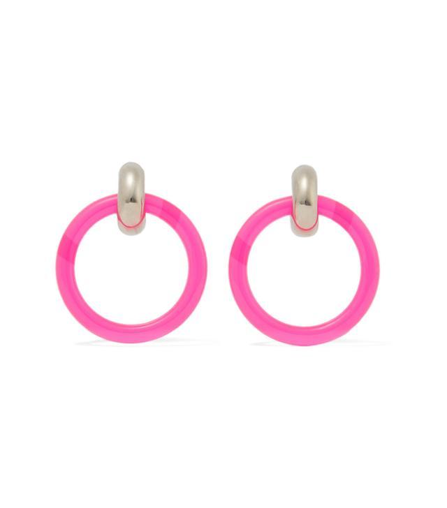 Balenciaga Silver-Tone and Neon Resin Earrings