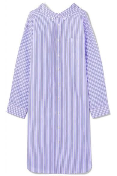 Balenciaga Oversized Striped Cotton-Poplin Shirt Dress