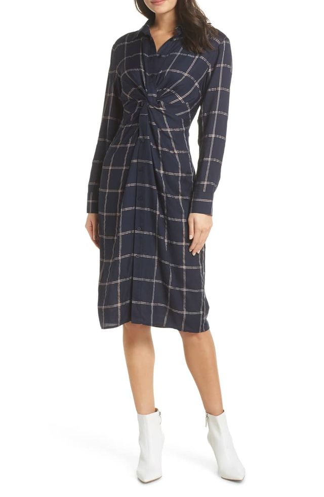 Charles Henry Twist Knot Shirtdress