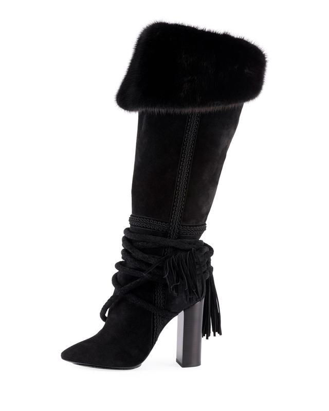 Saint Laurent Meurice Suede Knee Boots With Fur Collar