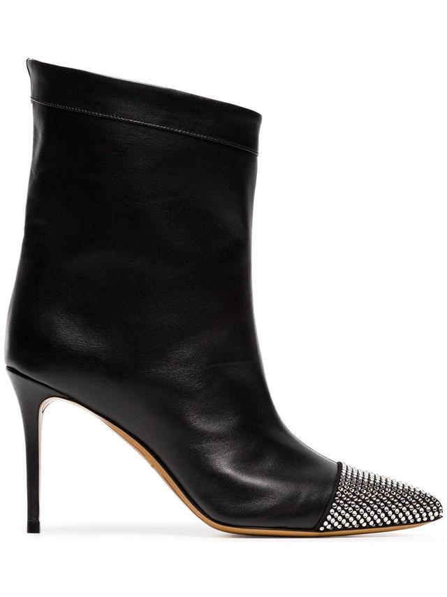 Alexandre Vauthier Black Cha Cha 90 Diamante Leather Boots