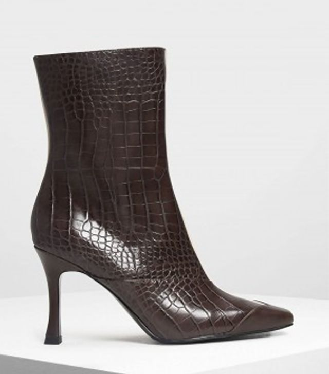 Charles & Keith Dual Texture Ankle Boots