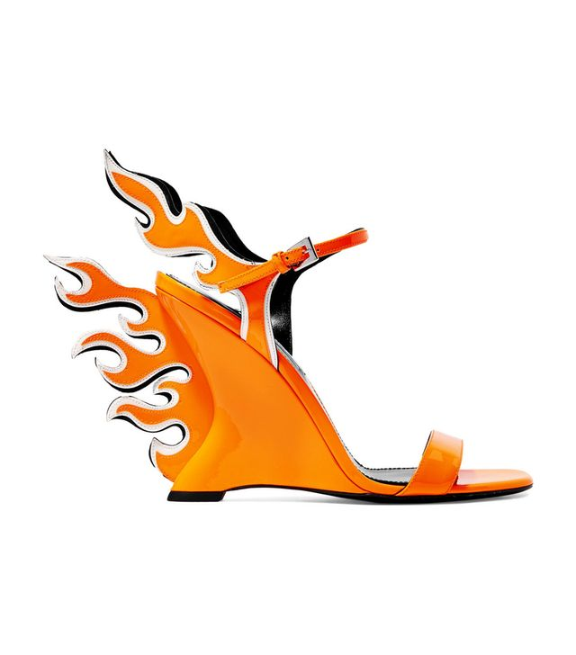 Prada Neon Patent-Leather Wedge Sandals