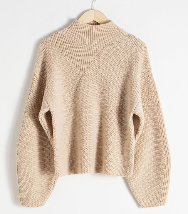 & Other Stories Wool Blend Mock Neck Sweater