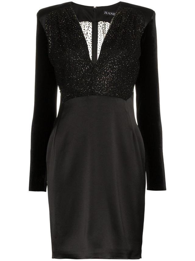 Haney Stam V-Neck Velvet Sleeve Mini Dress