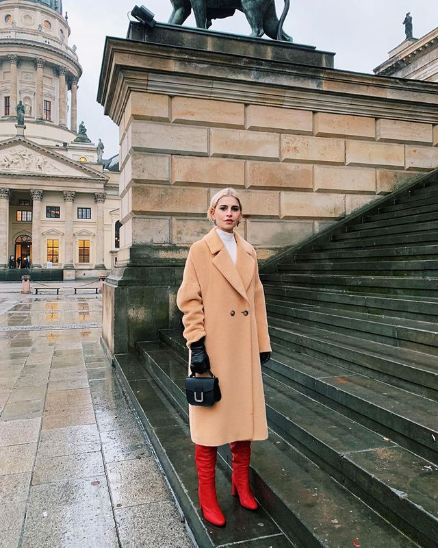 Knee-High Boot Outfits: Camel Coat