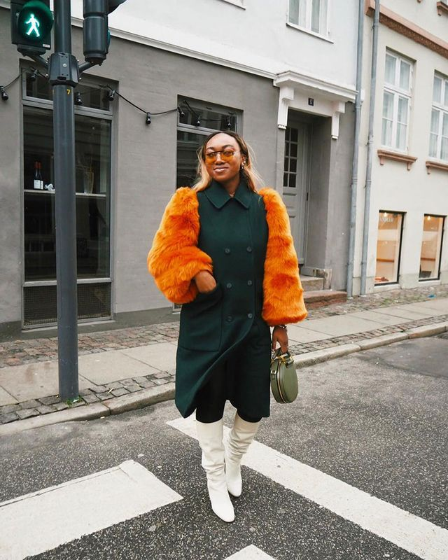 Knee-High Boot Outfits: Furry Coat