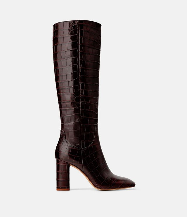 Zara Animal Print Heeled Leather Boots