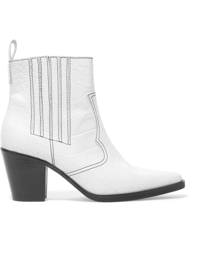 Ganni Callie Croc-Effect Leather Ankle Boots