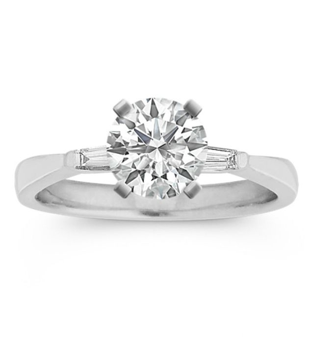 Shane Co. Three-Stone Baguette Diamond Engagement Ring