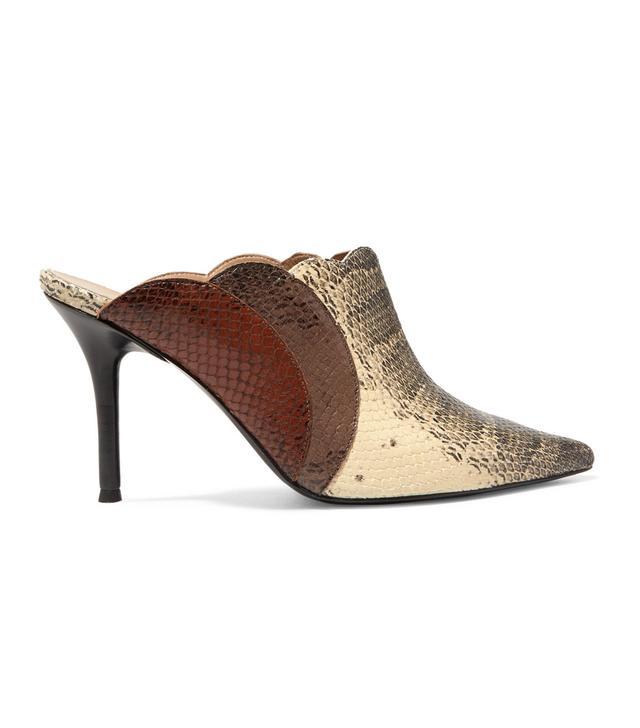Chloé Lauren Scalloped Snake-Effect Leather Mules