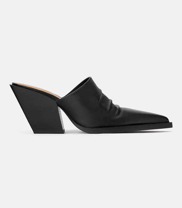 Zara Leather Mules With Cowboy Boot Heels