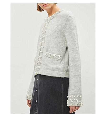 Maje Embellished Knitted Cardigan