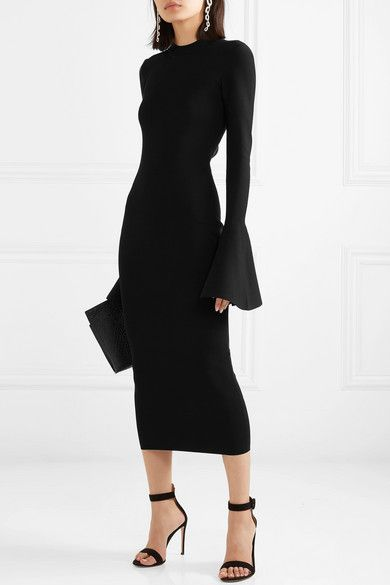 Solace London Corvo Stretch-Knit Midi Dress