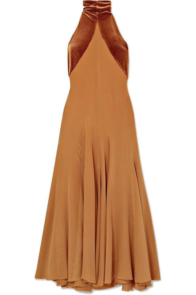 Haider Ackermann Asymmetric Silk Crepe de Chine and Velvet Maxi Dress