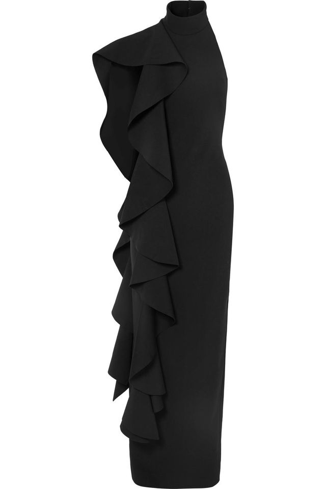 Solace London Cold-Shoulder Draped Ruffled Stretch-Crepe Maxi Dress