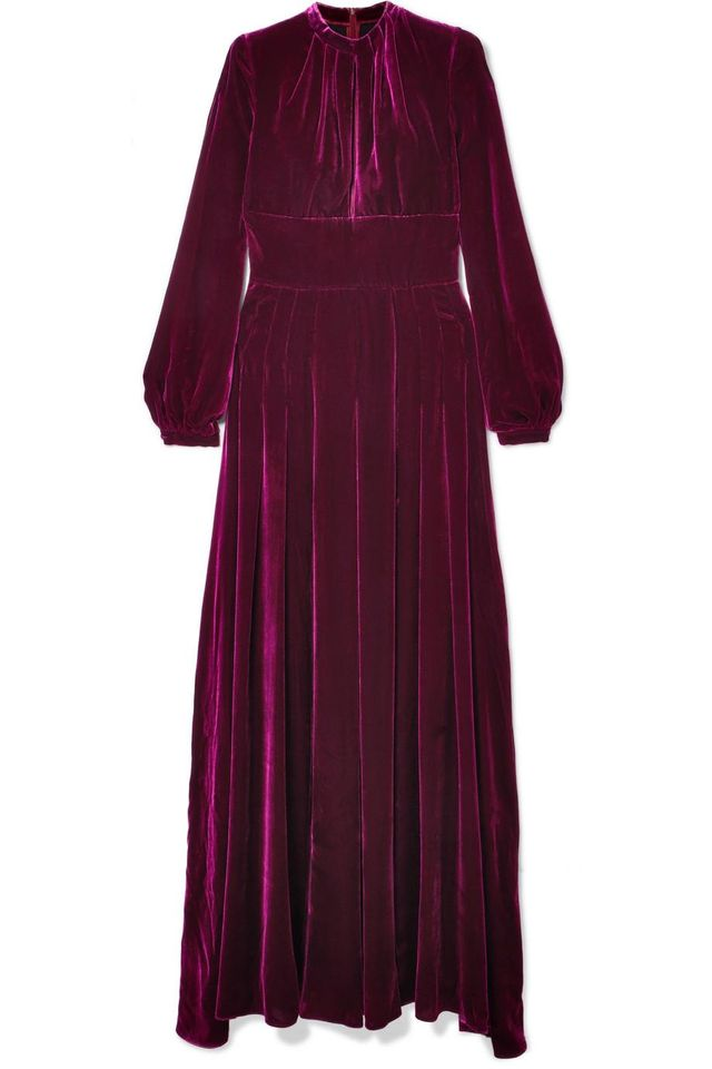 Raquel Diniz Alma Pleated Silk-Velvet Maxi Dress