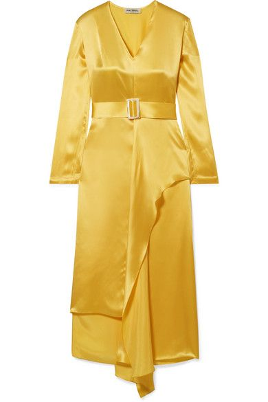 Matériel Belted Silk-Satin Midi Dress
