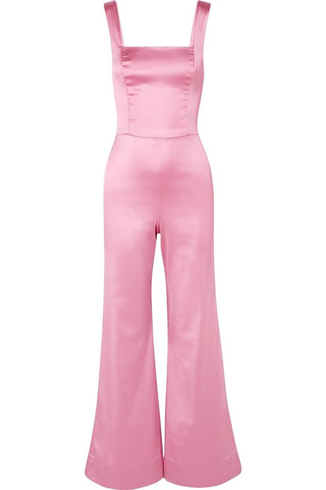 Staud Donna Stretch-Satin Jumpsuit