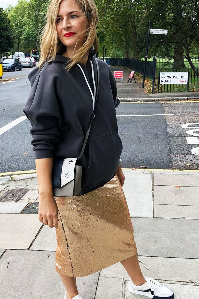 Marks and Spencer shopping tips: Rachel in hoodie and sequin skirt