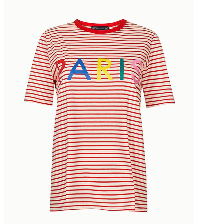Marks & Spencer Pure Cotton Striped Paris Straight Fit T-Shirt