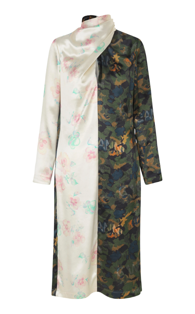 Ganni Exclusive Scarf-Detailed Printed Satin Dress