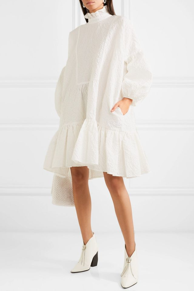 Cecilie Bahnsen Belle Ruffled Cotton-Blend Cloqué Midi Dress