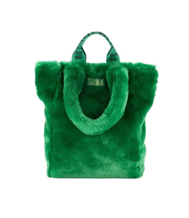 Unreal Fur Tzippy Wide Faux Fur and Artificial Leather Tote