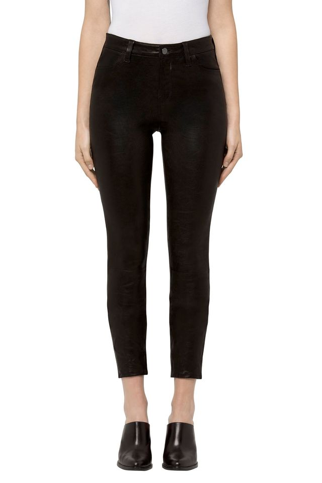 J Brand Alana High-Rise Cropped Super Skinny in Black Leather