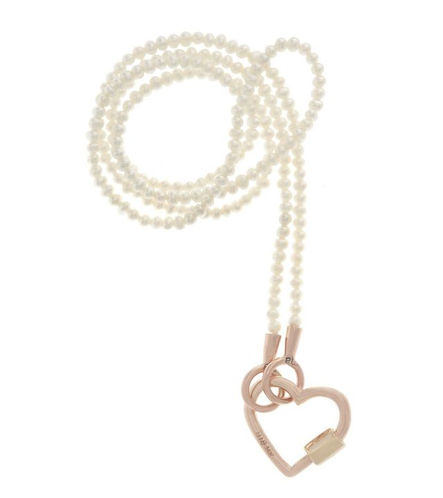 "Marla Aaron Rose Gold Baby Heart Lock on a 16"" Strand of Seed Pearls"