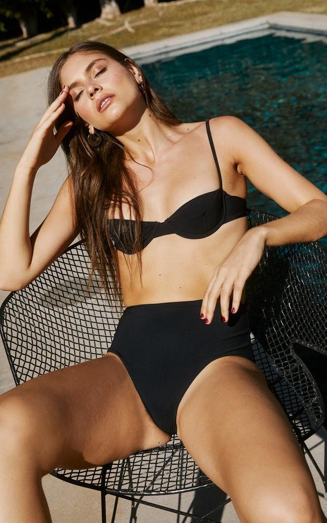 Anemone Black Balconette Underwire Bikini Top