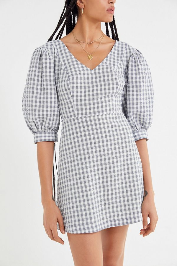 Urban Outfitters Lena Gingham Puff Sleeve Mini Dress