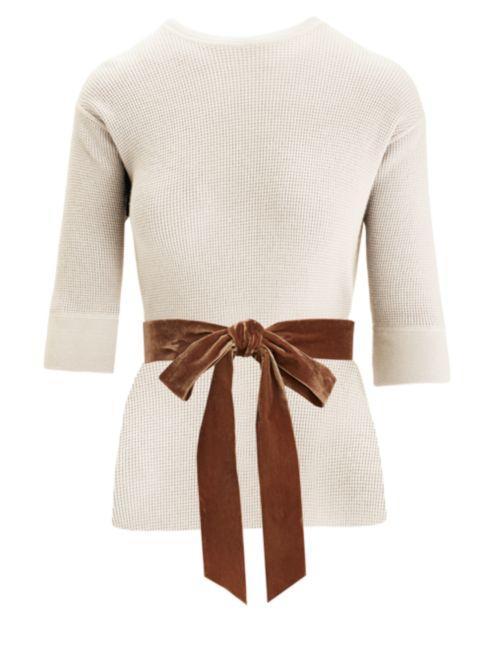 Marc Jacobs Waffle-Knit Cashmere-Blend Crewneck Bow Sweater