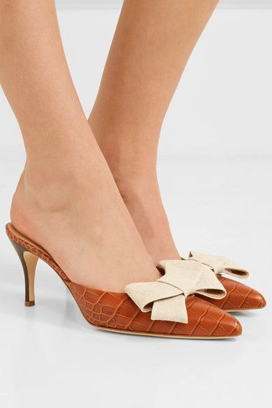 Brother Vellies Stell Bow-Embellished Croc-Effect Leather Mules