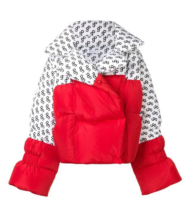 Saks Potts Logo Print Panelled Puffer Jacket