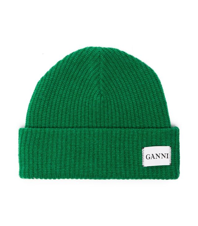 Ganni Green Knit Logo Beanie
