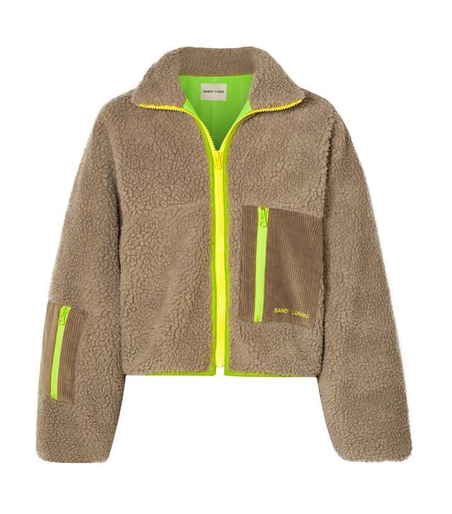 Sandy Liang Corduroy and Shell-Trimmed Fleece Jacket