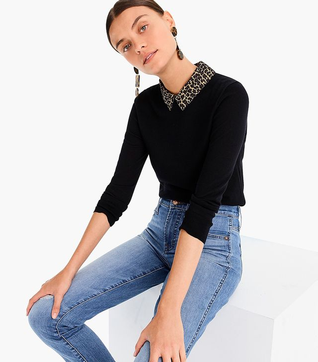 J.Crew Tippi Sweater With Leopard Collar