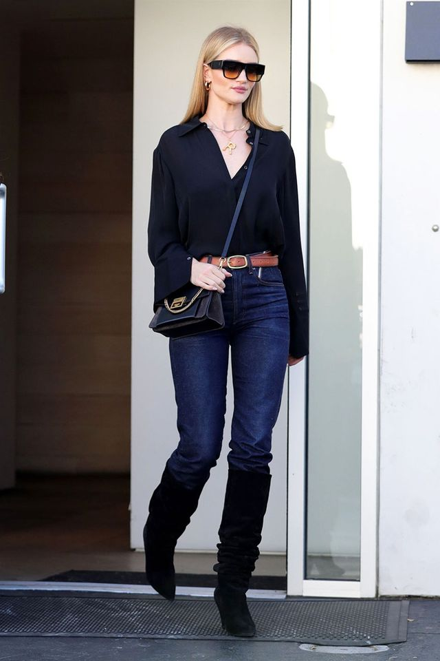 Celebrity Knee-High Boot Outfits: Rosie Huntington-Whiteley