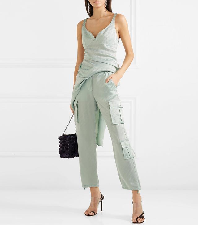 Off-White Satin-Jacquard Straight-Leg Pants