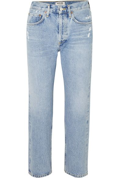 Agolde Parker Distressed Cropped Mid-Rse Straight-Leg Jeans