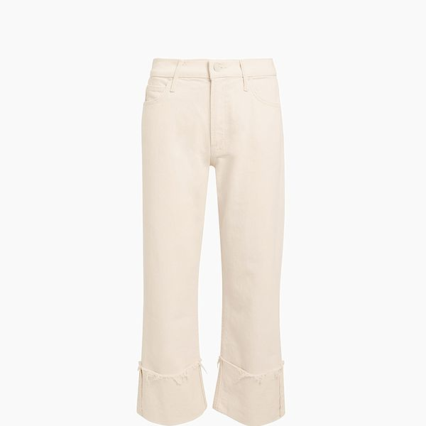 Mother Act Natural Dusty Cuff Fray Jeans
