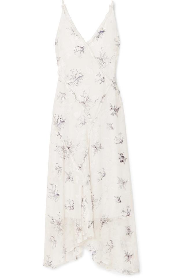 Jason Wu Grey Ruffled Floral-Print Fil Coupé Georgette Midi Dress
