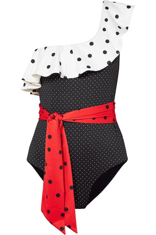 Ganni Prentis One-Shoulder Ruffled Polka-Dot Swimsuit